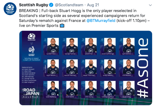 Stuart Hogg is the only player to play in the rematch this Saturday